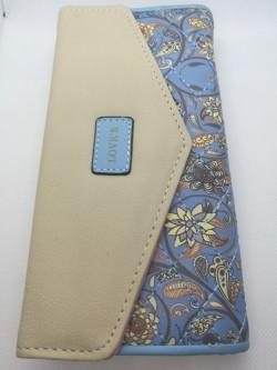 Elegantní peněženka modrá s květinami