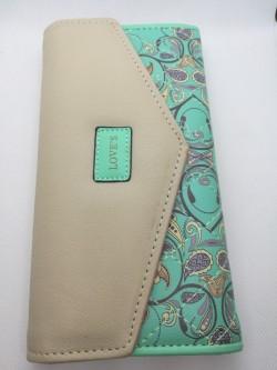Elegantní peněženka zelená s květinami