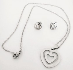 Ocelová sada šperků srdce