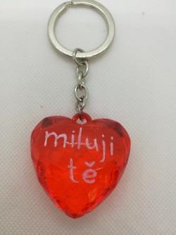 Přívěšek, klíčenka srdce s nápisem Miluji tě