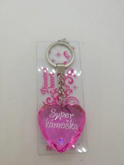 Přívěšek, klíčenka srdce s nápisem Super kámoška