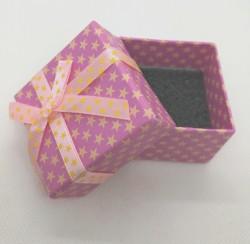 Dárková krabička na šperky papírová růžová s hvězdičkami