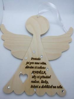 Dřevěný anděl přírodní s věnováním, 20 cm