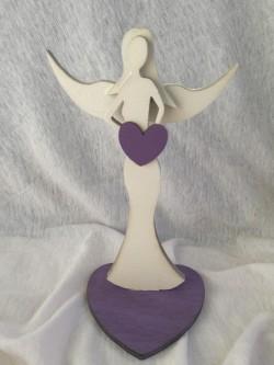 Anděl 16 cm, bílo fialový