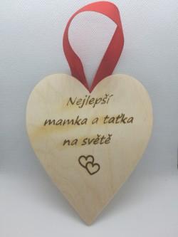 Dřevěné srdce Nejlepší mamka a taťka