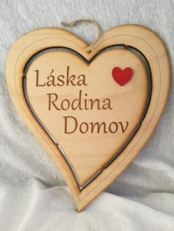 Dřevěné srdce přírodní 24 cm Láska, Rodina, Domov.