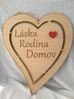 Dřevěné srdce přírodní 34 cm Láska, Rodina, Domov.