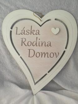 Dřevěné srdce bílé 34 cm Láska, Rodina, Domov.