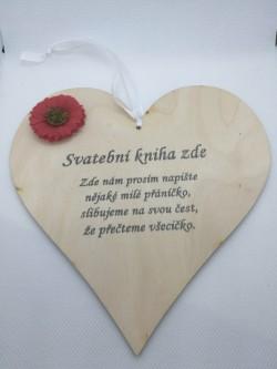 Dřevěné srdce svatební, 17 cm