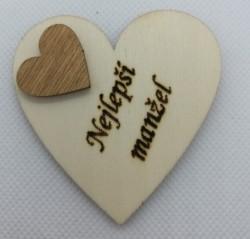 """Srdce s věnováním Nejlepší manžel"""" 6x6 cm, magnetka"""""""