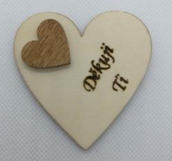 """Srdce s věnováním Děkuji ti"""" 6x6 cm, magnetka"""""""