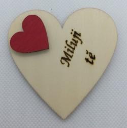 """Srdce s věnováním Miluji tě"""" 6x6 cm, magnetka"""""""