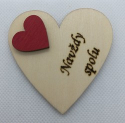 """Srdce s věnováním Navždy spolu"""" 6x6 cm, magnetka"""""""