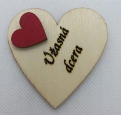 """Srdce s věnováním Úžasná dcera"""" 6x6 cm, magnetka"""""""