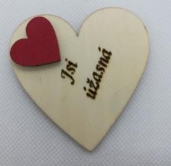 """Srdce s věnováním Jsi úžasná"""" 6x6 cm, magnetka"""""""