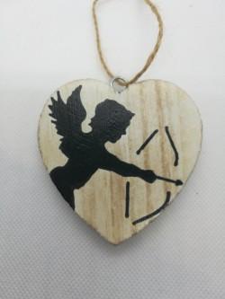 Dřevěné srdíčko amor, 7 cm