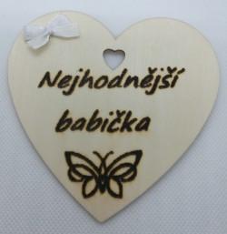 """Srdce s věnováním Nejhodnějsí babička"""" 10x10 cm, magnetka"""""""
