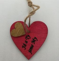 """Srdce s věnováním Já a Ty jsme My"""" 5,5x5,5 cm, na zavěšení"""""""