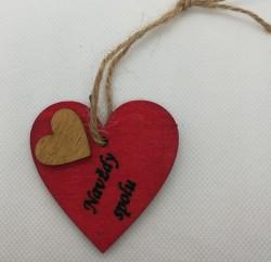 """Srdce s věnováním Navždy spolu"""" 5,5x5,5 cm, na zavěšení"""""""