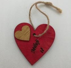 """Srdce s věnováním Miluji tě"""" 5,5x5,5 cm, na zavěšení"""""""